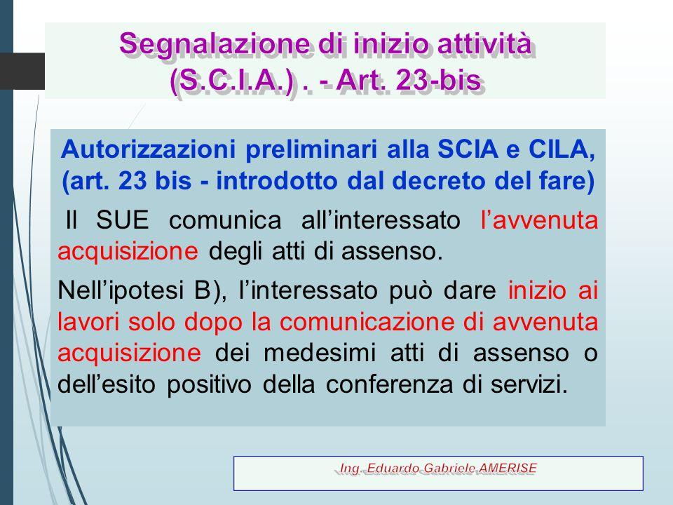 80 Autorizzazioni preliminari alla SCIA e CILA, (art. 23 bis - introdotto dal decreto del fare) Il SUE comunica all'interessato l'avvenuta acquisizion