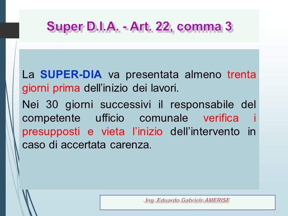 84 La SUPER-DIA va presentata almeno trenta giorni prima dell'inizio dei lavori. Nei 30 giorni successivi il responsabile del competente ufficio comun