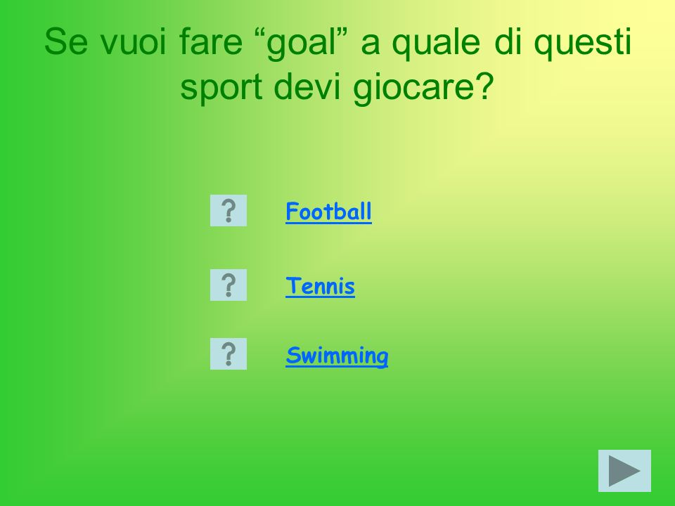 Se vuoi fare goal a quale di questi sport devi giocare Football Tennis Swimming