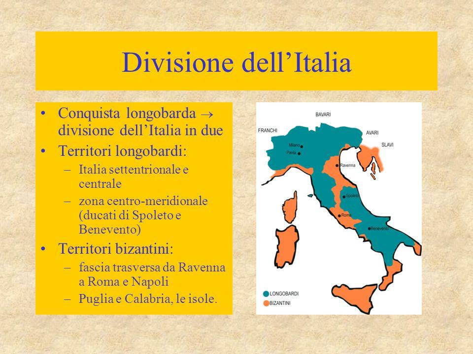 Divisione dell'Italia Conquista longobarda  divisione dell'Italia in due Territori longobardi: –Italia settentrionale e centrale –zona centro-meridio