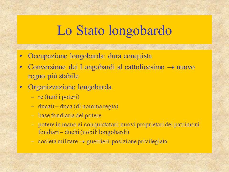 Lo Stato longobardo Occupazione longobarda: dura conquista Conversione dei Longobardi al cattolicesimo  nuovo regno più stabile Organizzazione longob