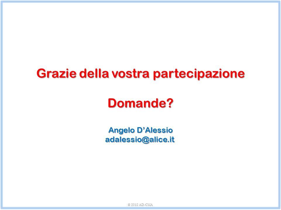 Grazie della vostra partecipazione Domande? Angelo D'Alessio adalessio@alice.it