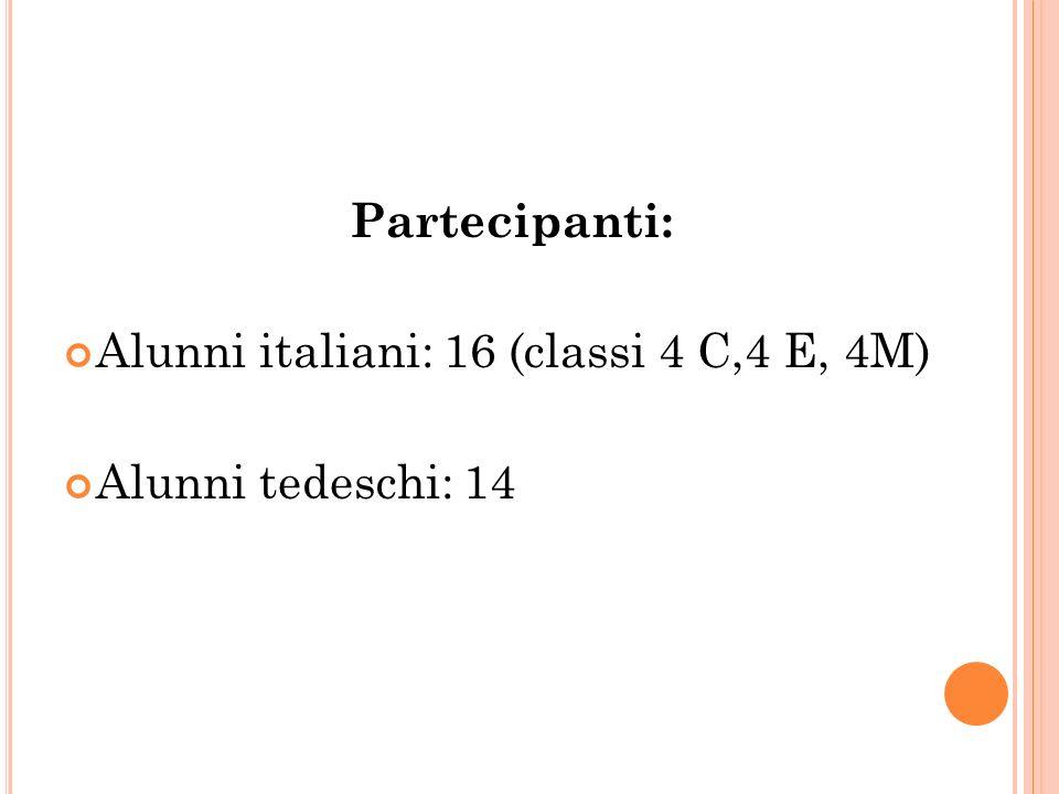 Partecipanti: Alunni italiani: 16 (classi 4 C,4 E, 4M) Alunni tedeschi: 14