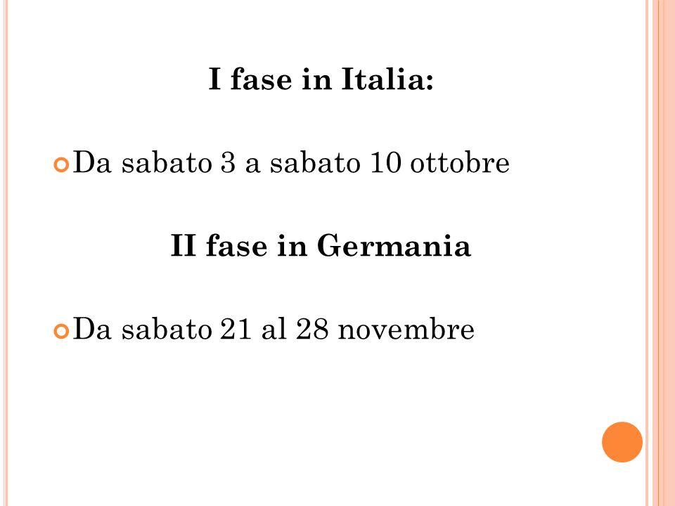 I fase in Italia: Da sabato 3 a sabato 10 ottobre II fase in Germania Da sabato 21 al 28 novembre