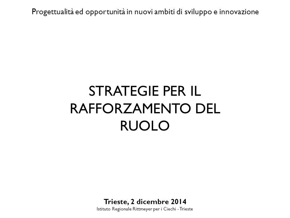 Progettualità ed opportunità in nuovi ambiti di sviluppo e innovazione Trieste, 2 dicembre 2014 Istituto Regionale Rittmeyer per i Ciechi - Trieste STRATEGIE PER IL RAFFORZAMENTO DEL RUOLO