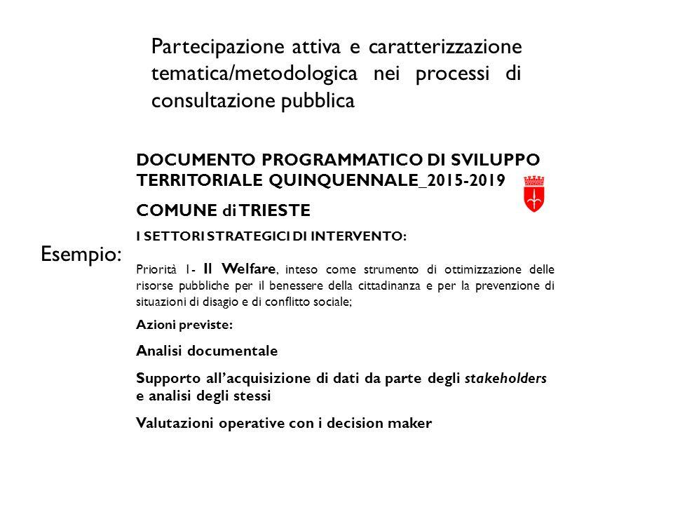 Partecipazione attiva e caratterizzazione tematica/metodologica nei processi di consultazione pubblica Esempio: DOCUMENTO PROGRAMMATICO DI SVILUPPO TE