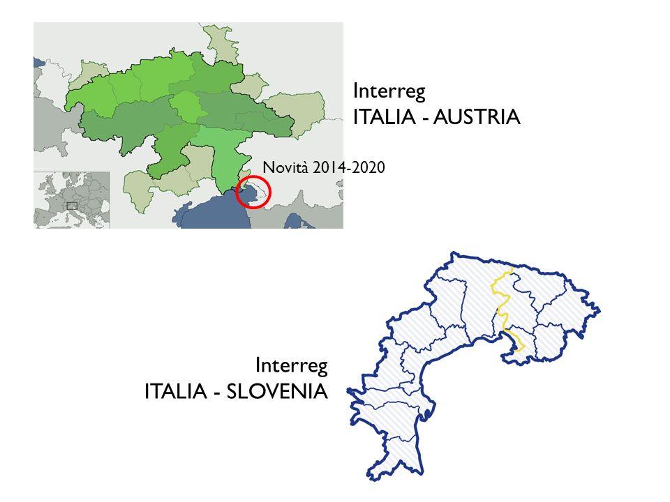 Novità 2014-2020 Interreg ITALIA - AUSTRIA Interreg ITALIA - SLOVENIA