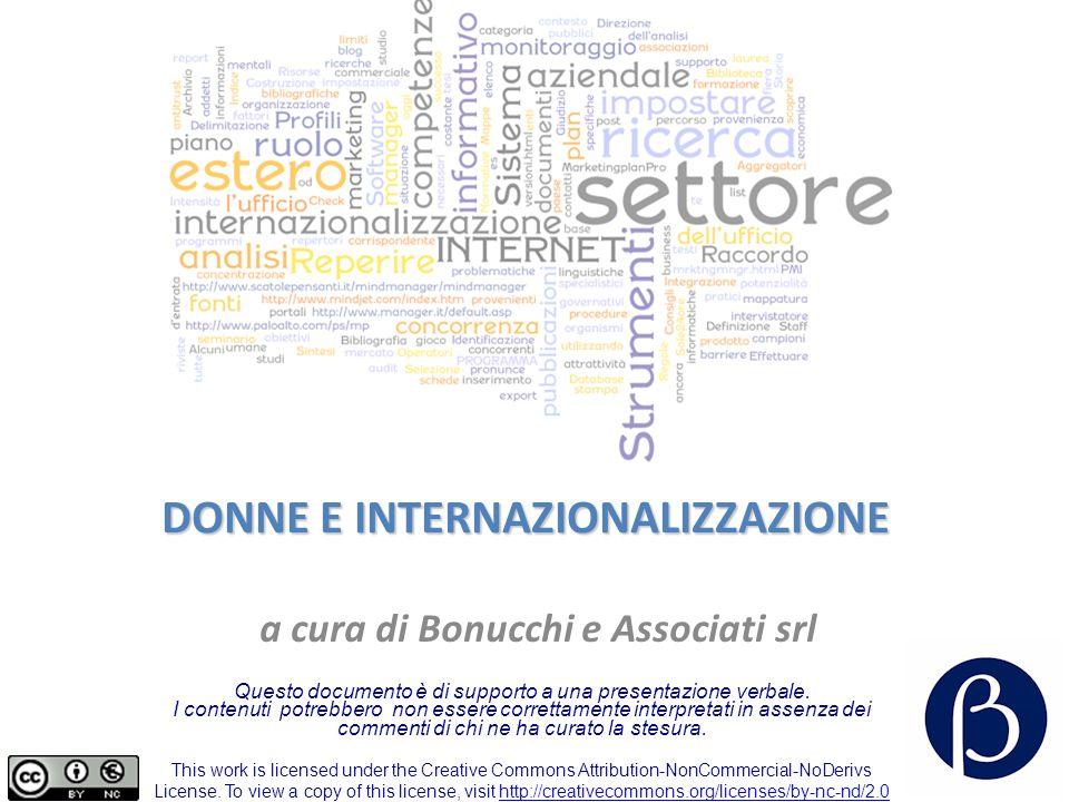 DONNE E INTERNAZIONALIZZAZIONE a cura di Bonucchi e Associati srl Questo documento è di supporto a una presentazione verbale.