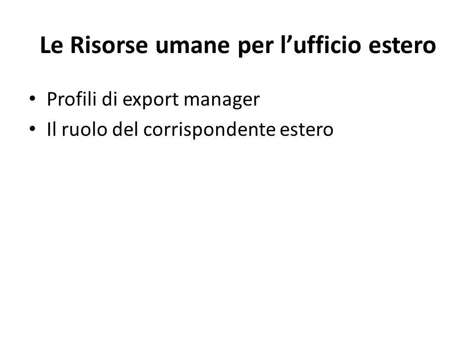 Le Risorse umane per l'ufficio estero Profili di export manager Il ruolo del corrispondente estero