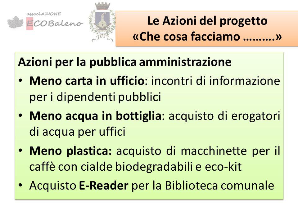 Gli Obiettivi del progetto «Amministrazioni Sostenibili» Gli Obiettivi del progetto «Amministrazioni Sostenibili» Riduzione dei rifiuti prodotti dagli