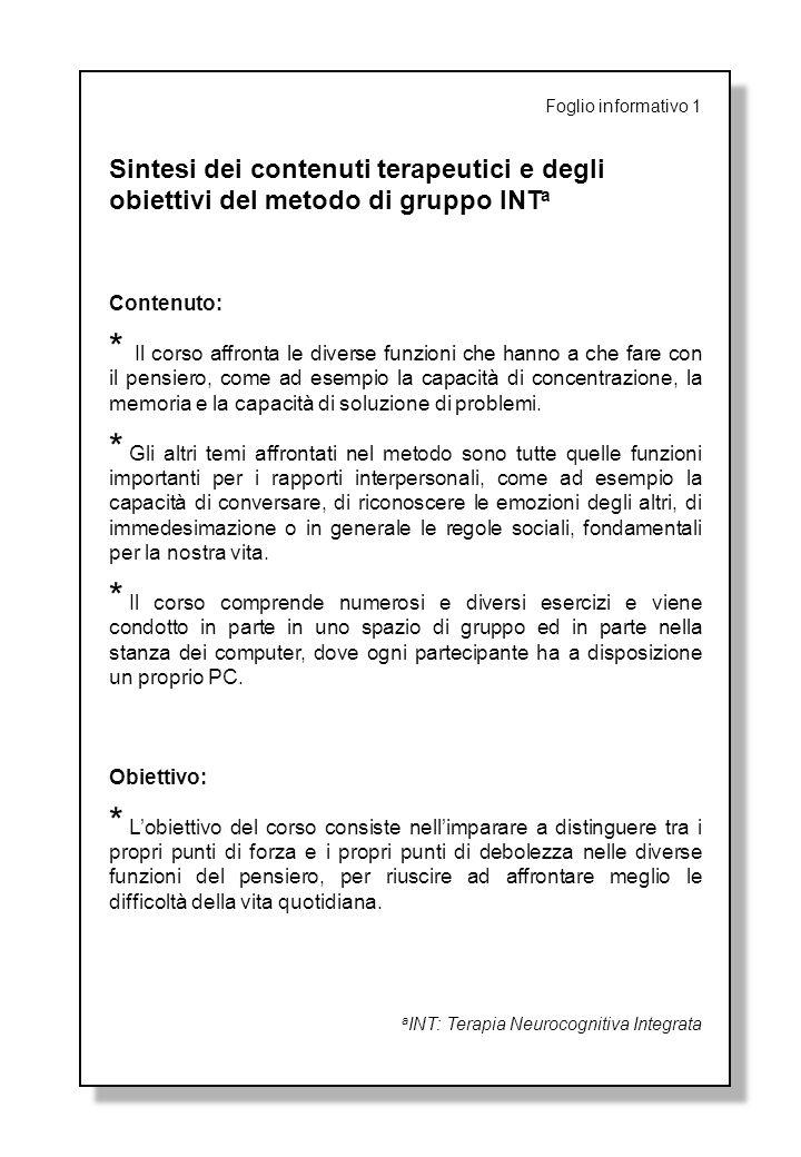 Foglio informativo 1 Sintesi dei contenuti terapeutici e degli obiettivi del metodo di gruppo INT a Contenuto: * Il corso affronta le diverse funzioni