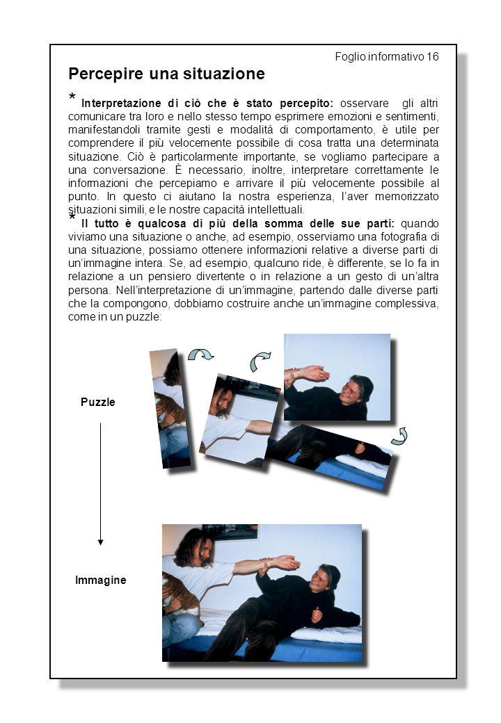 Foglio informativo 16 Percepire una situazione * Interpretazione di ciò che è stato percepito: osservare gli altri comunicare tra loro e nello stesso