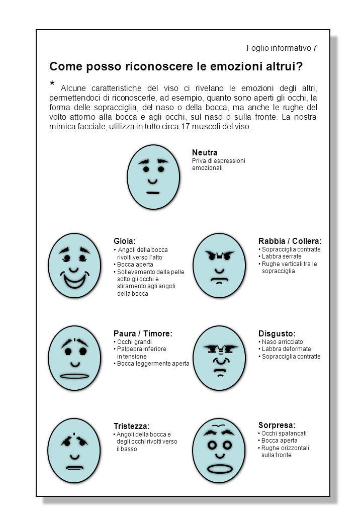 Foglio informativo 7 Come posso riconoscere le emozioni altrui? * Alcune caratteristiche del viso ci rivelano le emozioni degli altri, permettendoci d