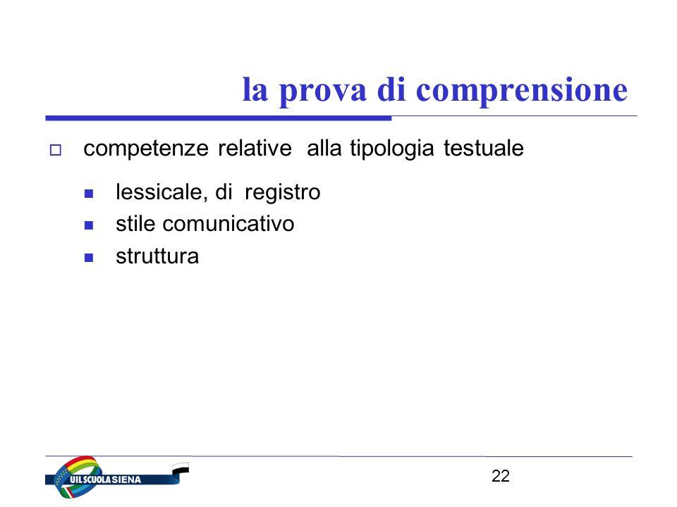 22 la prova di comprensione  competenze relative alla tipologia testuale lessicale, di registro stile comunicativo struttura