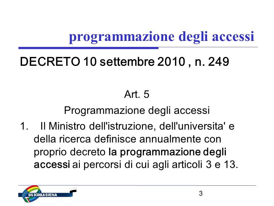 3 programmazione degli accessi DECRETO 10 settembre 2010, n.