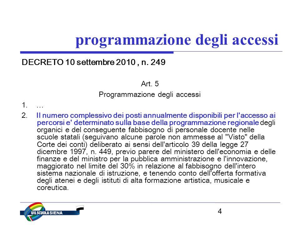 4 programmazione degli accessi DECRETO 10 settembre 2010, n.