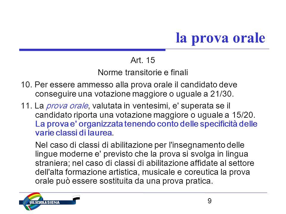 9 la prova orale Art. 15 Norme transitorie e finali 10.