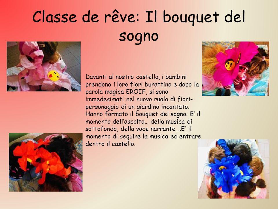 Classe de rêve: Il bouquet del sogno Davanti al nostro castello, i bambini prendono i loro fiori burattino e dopo la parola magica EROIF, si sono immedesimati nel nuovo ruolo di fiori- personaggio di un giardino incantato.