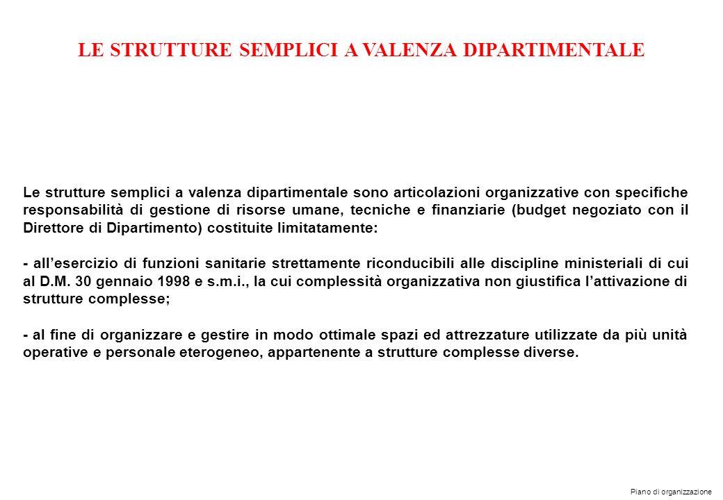Piano di organizzazione LE STRUTTURE SEMPLICI A VALENZA DIPARTIMENTALE Le strutture semplici a valenza dipartimentale sono articolazioni organizzative