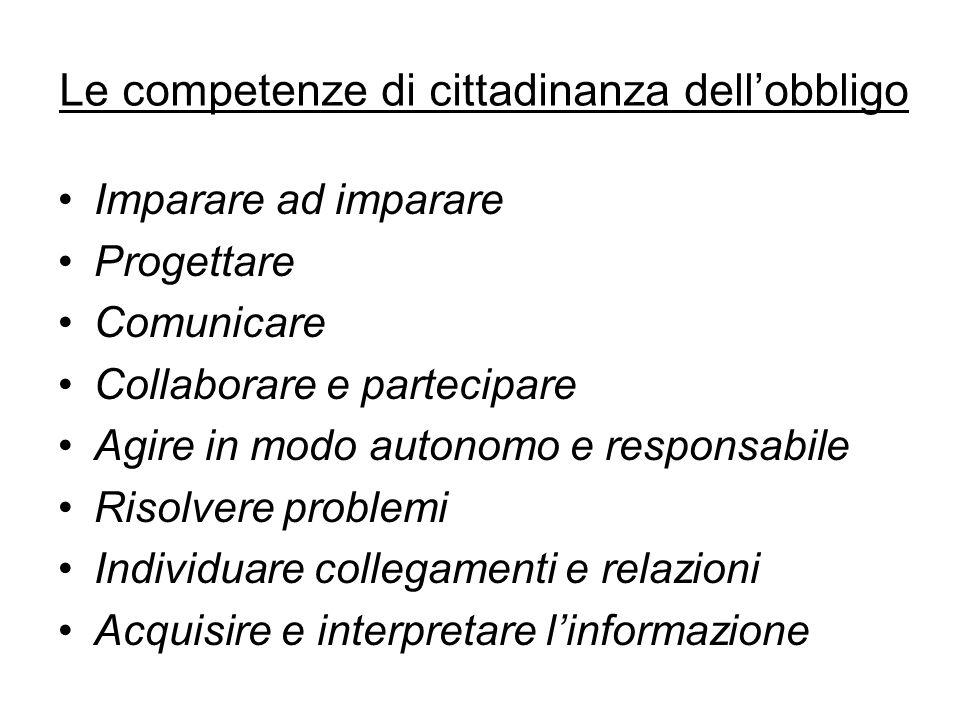 Le competenze di cittadinanza dell'obbligo Imparare ad imparare Progettare Comunicare Collaborare e partecipare Agire in modo autonomo e responsabile