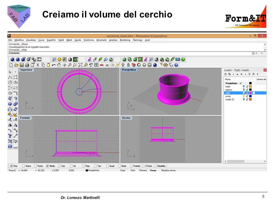 6 Dr. Lorenzo Martinelli Creiamo il volume del cerchio