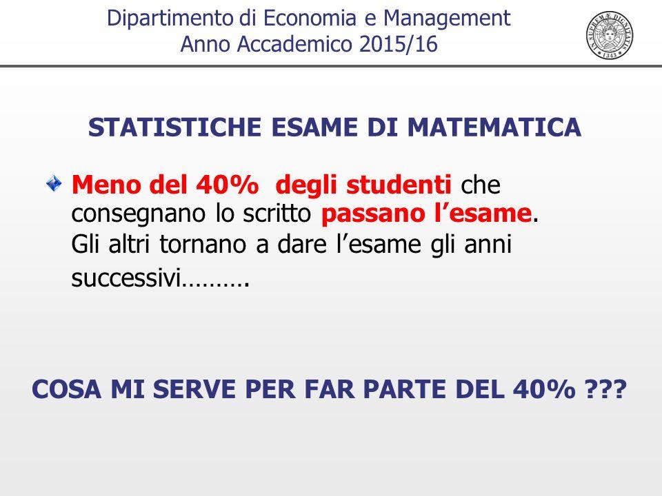 Dipartimento di Economia e Management Anno Accademico 2015/16 STATISTICHE ESAME DI MATEMATICA Meno del 40% degli studenti che consegnano lo scritto passano l'esame.