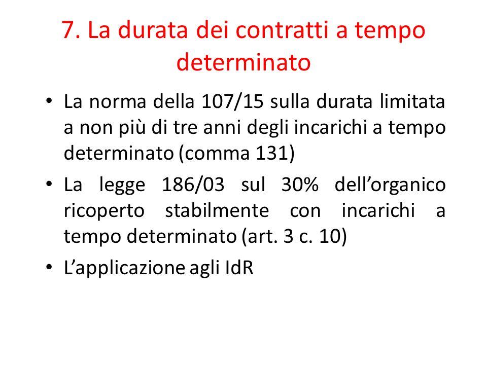 7. La durata dei contratti a tempo determinato La norma della 107/15 sulla durata limitata a non più di tre anni degli incarichi a tempo determinato (