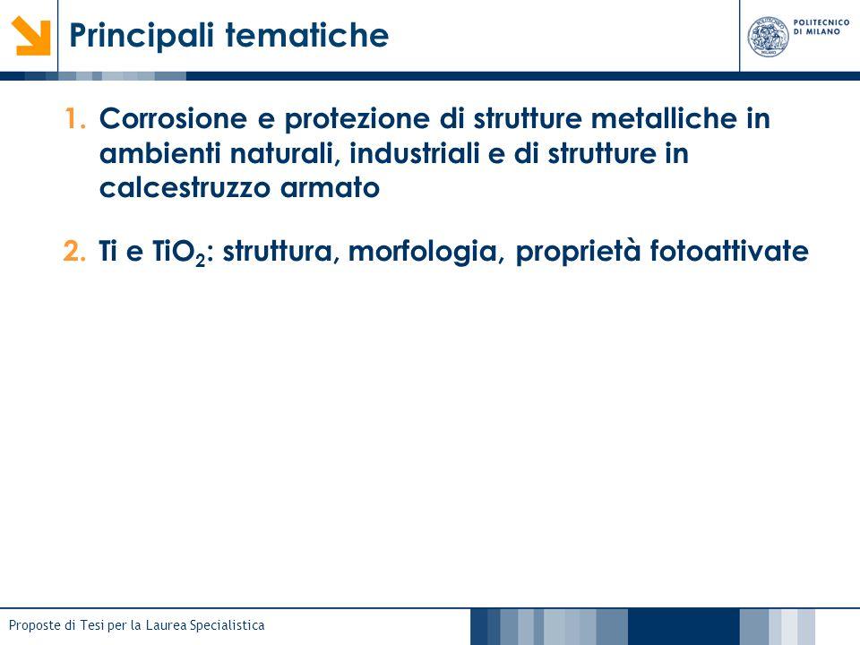 Proposte di Tesi per la Laurea Specialistica Principali tematiche 1.Corrosione e protezione di strutture metalliche in ambienti naturali, industriali
