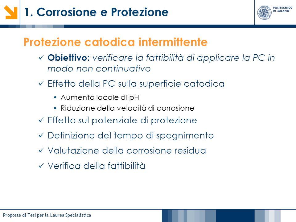 Proposte di Tesi per la Laurea Specialistica 1. Corrosione e Protezione Protezione catodica intermittente Obiettivo: verificare la fattibilità di appl