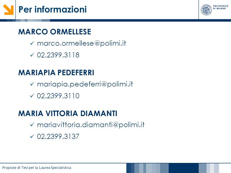 Proposte di Tesi per la Laurea Specialistica Per informazioni MARCO ORMELLESE marco.ormellese@polimi.it 02.2399.3118 MARIAPIA PEDEFERRI mariapia.pedef