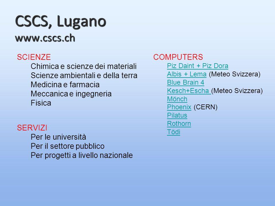 CSCS, Lugano www.cscs.ch SCIENZE Chimica e scienze dei materiali Scienze ambientali e della terra Medicina e farmacia Meccanica e ingegneria Fisica SERVIZI Per le università Per il settore pubblico Per progetti a livello nazionale COMPUTERS Piz Daint + Piz Dora Albis + LemaAlbis + Lema (Meteo Svizzera) Blue Brain 4 Kesch+Escha Kesch+Escha (Meteo Svizzera) Mönch PhoenixPhoenix (CERN) Pilatus Rothorn Tödi