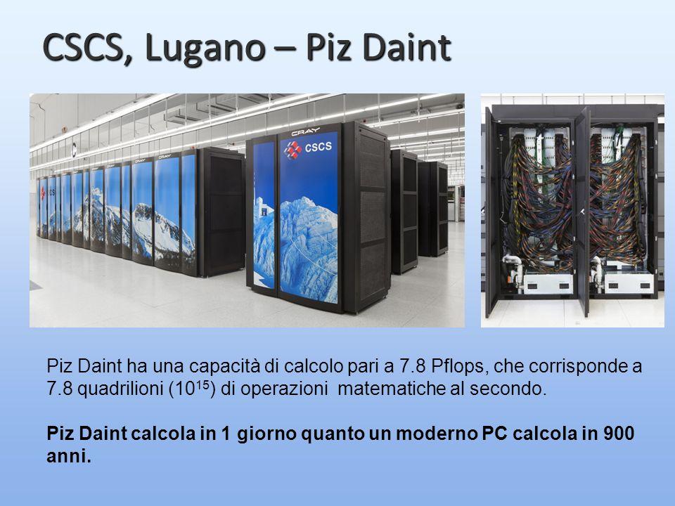 CSCS, Lugano – Piz Daint Piz Daint ha una capacità di calcolo pari a 7.8 Pflops, che corrisponde a 7.8 quadrilioni (10 15 ) di operazioni matematiche al secondo.