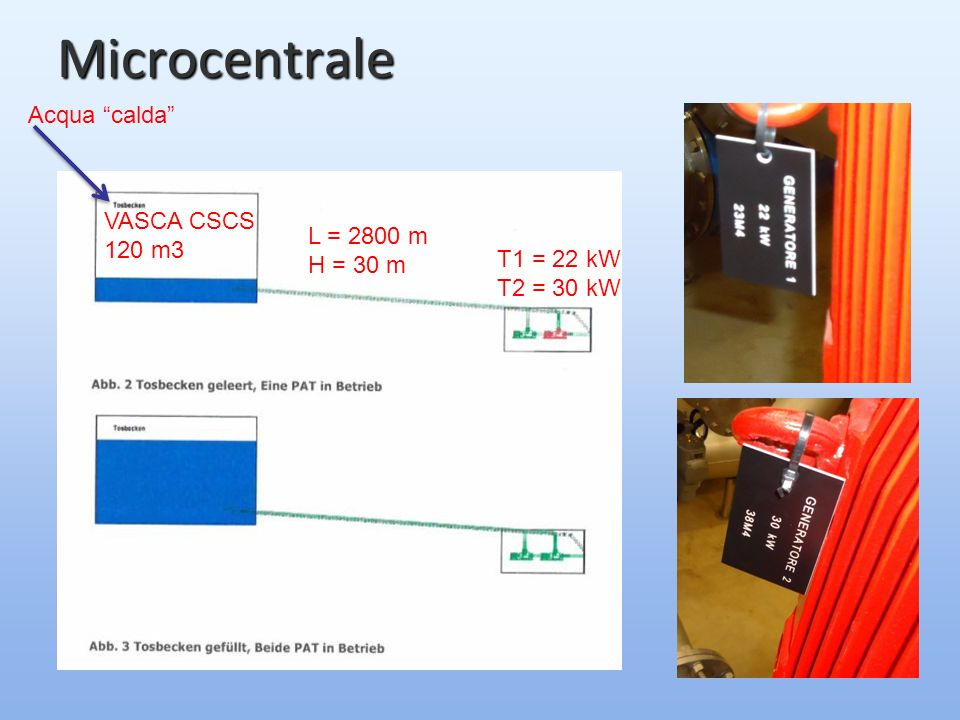 Microcentrale VASCA CSCS 120 m3 L = 2800 m H = 30 m T1 = 22 kW T2 = 30 kW Acqua calda