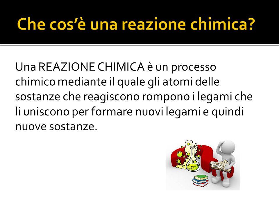 Una REAZIONE CHIMICA è un processo chimico mediante il quale gli atomi delle sostanze che reagiscono rompono i legami che li uniscono per formare nuov