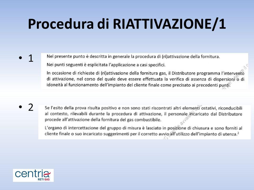 Procedura di RIATTIVAZIONE/1 1 2