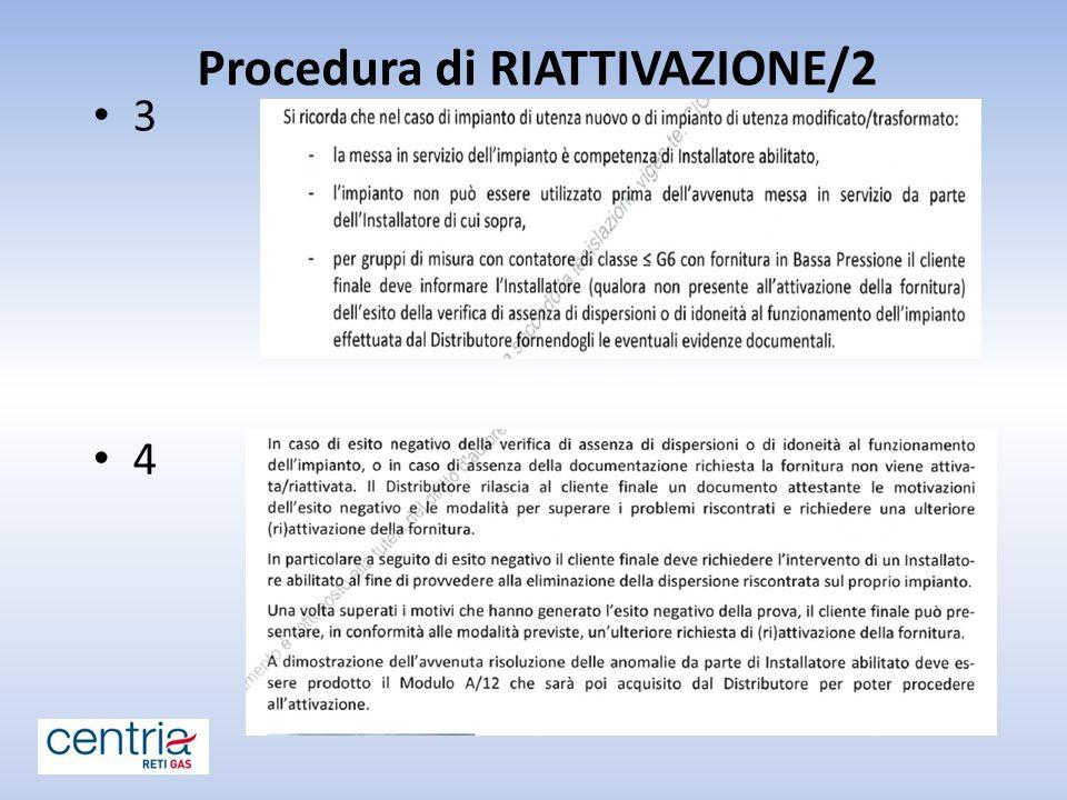 Procedura di RIATTIVAZIONE/2 3 4
