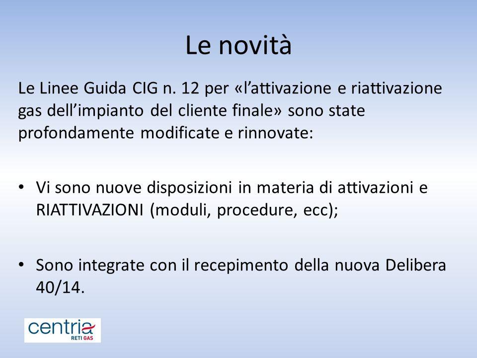 Le novità Le Linee Guida CIG n. 12 per «l'attivazione e riattivazione gas dell'impianto del cliente finale» sono state profondamente modificate e rinn