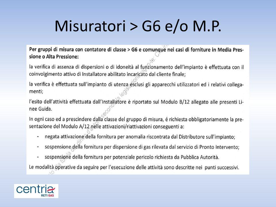 Misuratori > G6 e/o M.P.