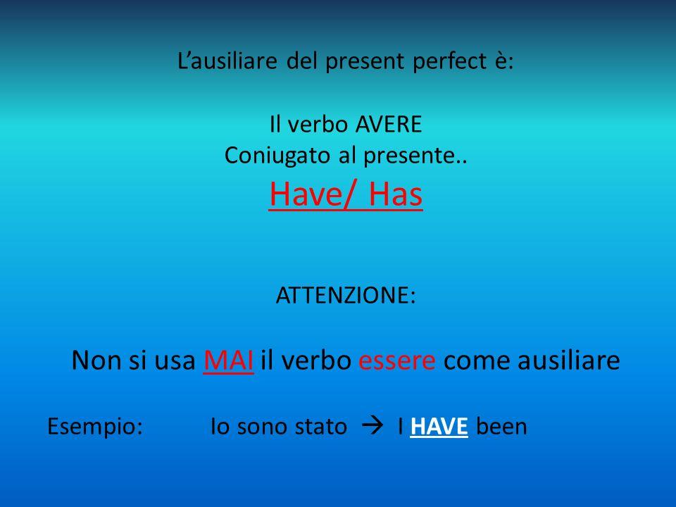 L'ausiliare del present perfect è: Il verbo AVERE Coniugato al presente.. Have/ Has ATTENZIONE: Non si usa MAI il verbo essere come ausiliare Esempio: