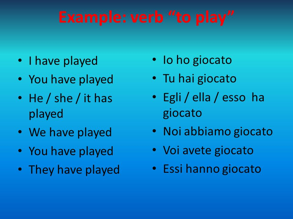 """Example: verb """"to play"""" I have played You have played He / she / it has played We have played You have played They have played Io ho giocato Tu hai gi"""