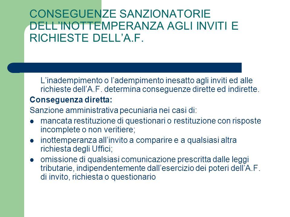 CONSEGUENZE SANZIONATORIE DELL'INOTTEMPERANZA AGLI INVITI E RICHIESTE DELL'A.F.