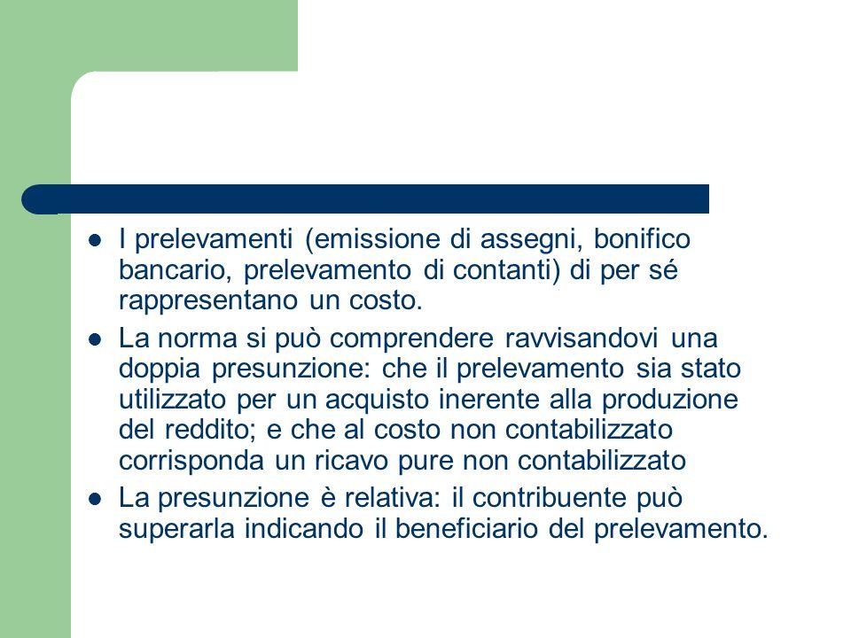 I prelevamenti (emissione di assegni, bonifico bancario, prelevamento di contanti) di per sé rappresentano un costo.