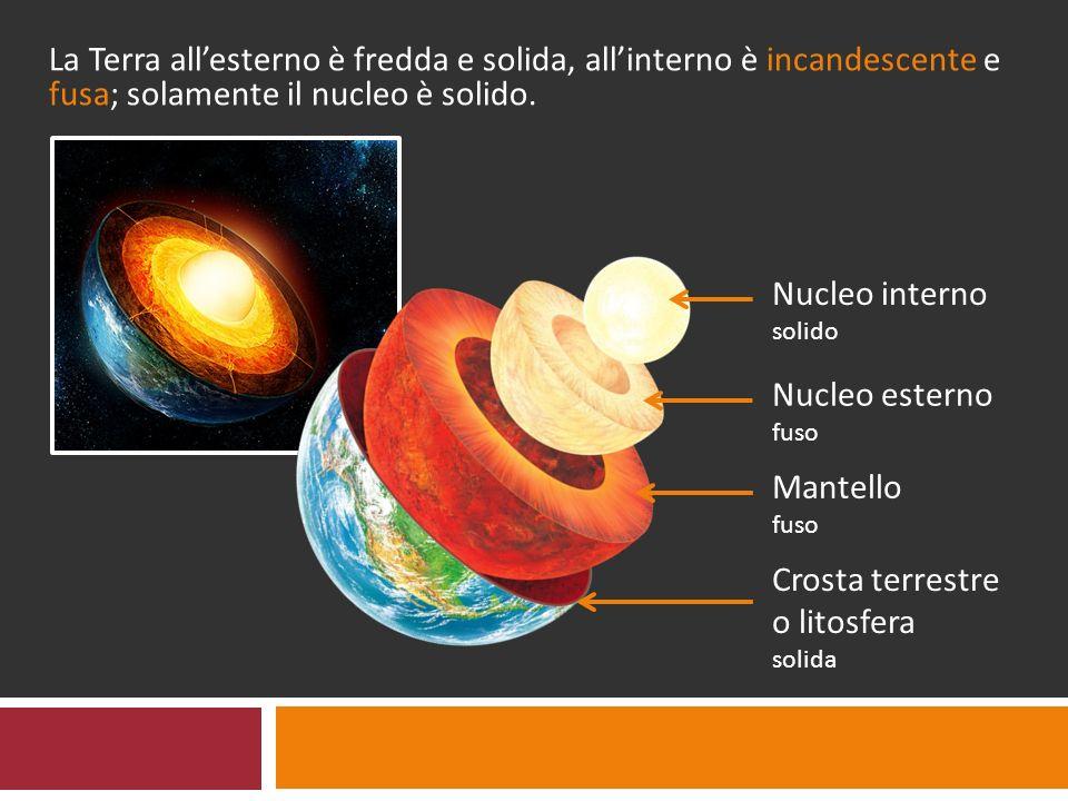 La Terra all'esterno è fredda e solida, all'interno è incandescente e fusa; solamente il nucleo è solido. Nucleo interno solido Nucleo esterno fuso Ma