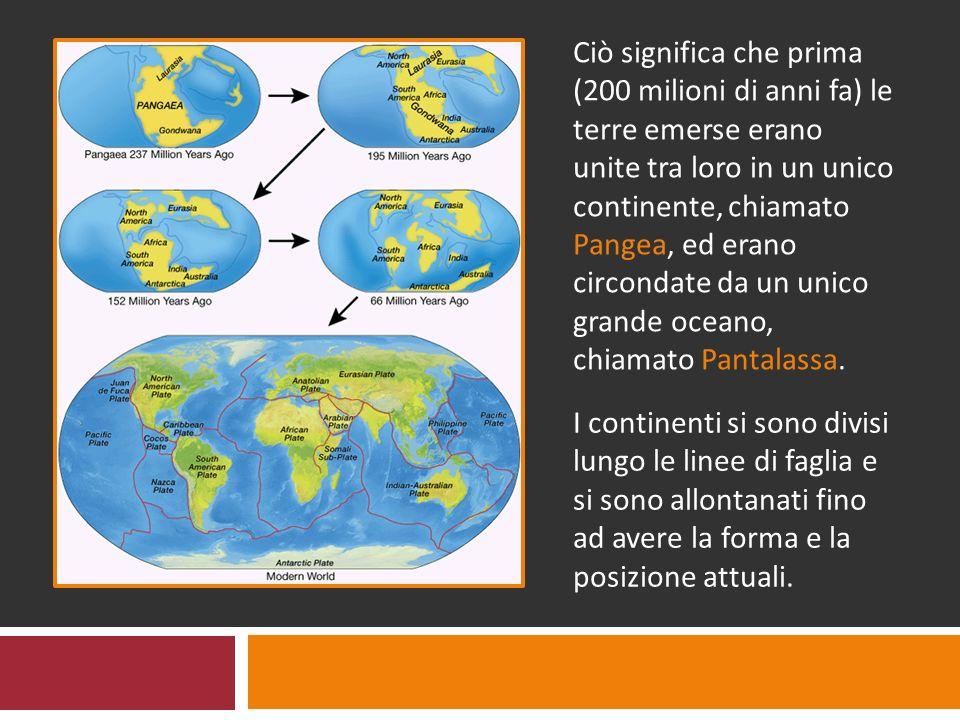 Ciò significa che prima (200 milioni di anni fa) le terre emerse erano unite tra loro in un unico continente, chiamato Pangea, ed erano circondate da