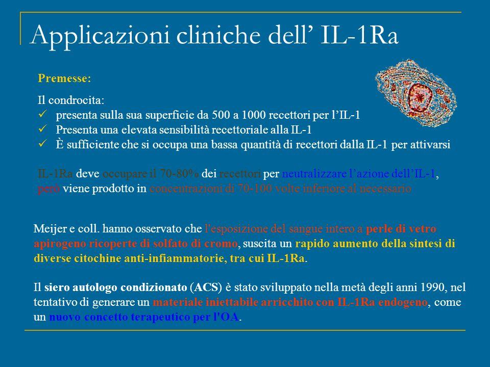 Applicazioni cliniche dell' IL-1Ra Meijer e coll. hanno osservato che l'esposizione del sangue intero a perle di vetro apirogeno ricoperte di solfato