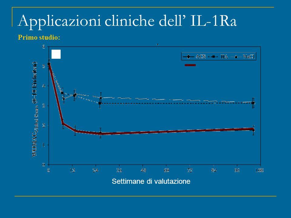 Applicazioni cliniche dell' IL-1Ra Settimane di valutazione Primo studio: