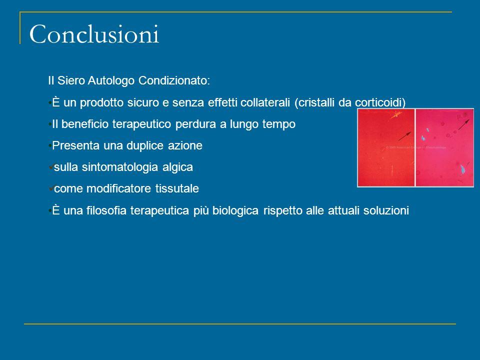 Conclusioni Il Siero Autologo Condizionato: È un prodotto sicuro e senza effetti collaterali (cristalli da corticoidi) Il beneficio terapeutico perdur