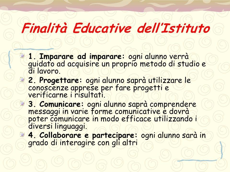 Finalità Educative dell'Istituto 1. Imparare ad imparare: ogni alunno verrà guidato ad acquisire un proprio metodo di studio e di lavoro. 2. Progettar