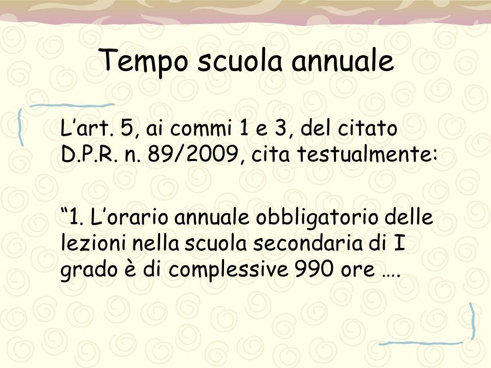 """Tempo scuola annuale L'art. 5, ai commi 1 e 3, del citato D.P.R. n. 89/2009, cita testualmente: """"1. L'orario annuale obbligatorio delle lezioni nella"""