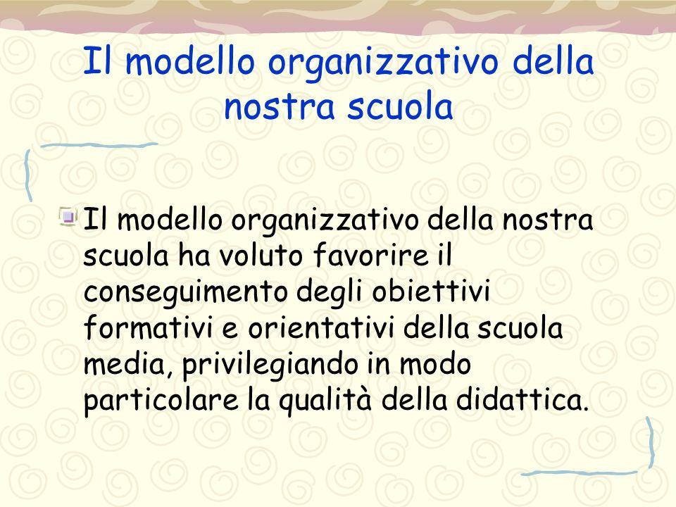Il modello organizzativo della nostra scuola Il modello organizzativo della nostra scuola ha voluto favorire il conseguimento degli obiettivi formativ